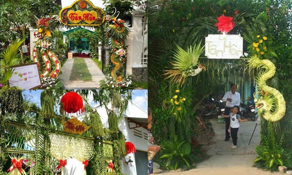 Những mẫu cổng hoa cưới bằng lá dừa miền tây đẹp