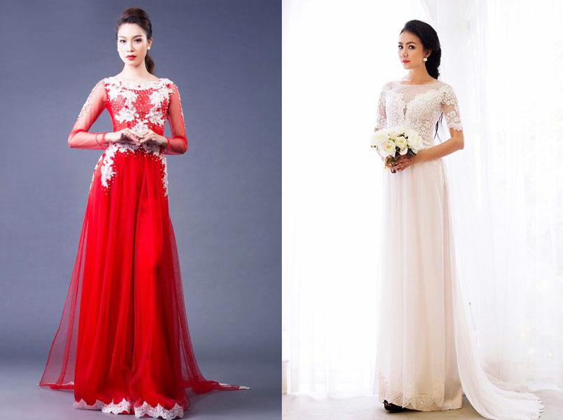 mẫu áo dài cưới 2017 - áo dài cưới cổ thuyền