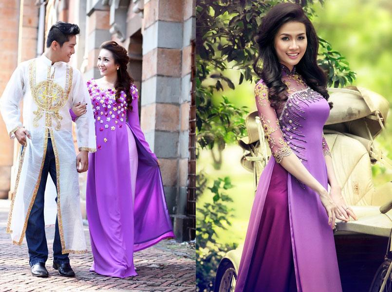 mẫu áo dài cưới 2017 - áo dài cưới màu tím
