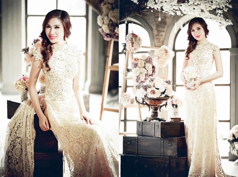 mẫu áo dài cưới 2017 - áo dài cưới tay ngắn