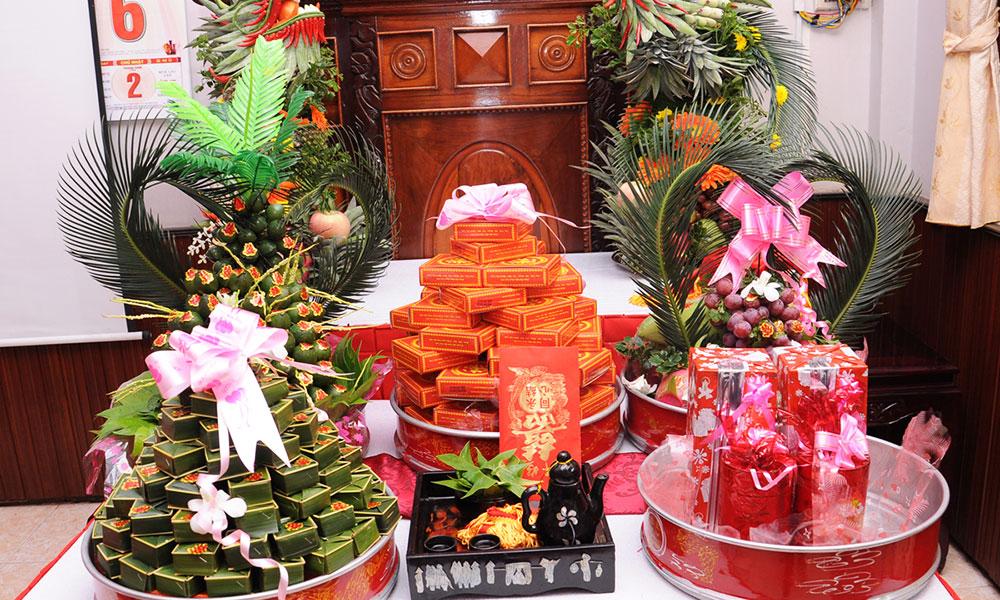 Dịch vụ cưới hỏi trọn gói - mâm hoa quả ngày cưới