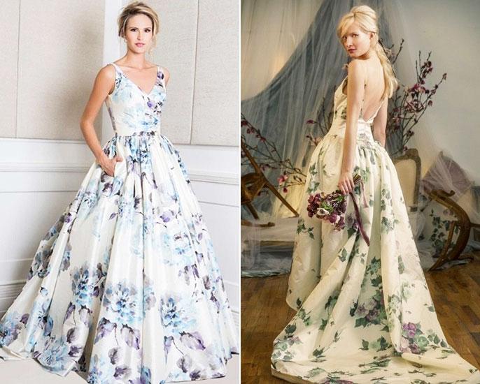 Mẫu áo cưới hot trend 2017 - Váy cưới in họa tiết 3d