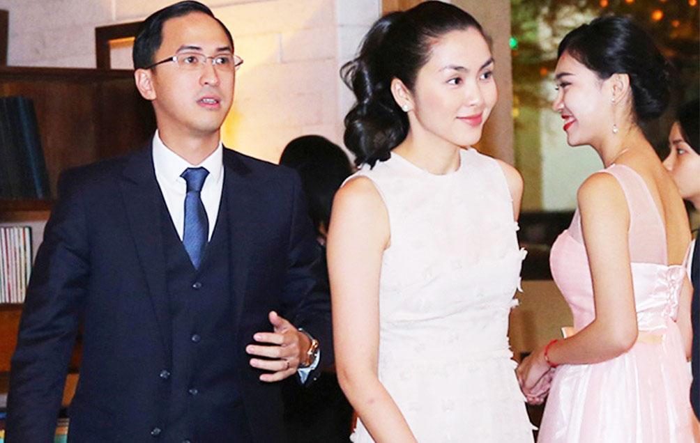 Vợ chồng Tăng Thanh Hà trong đám cưới của Đặng Thu Thảo